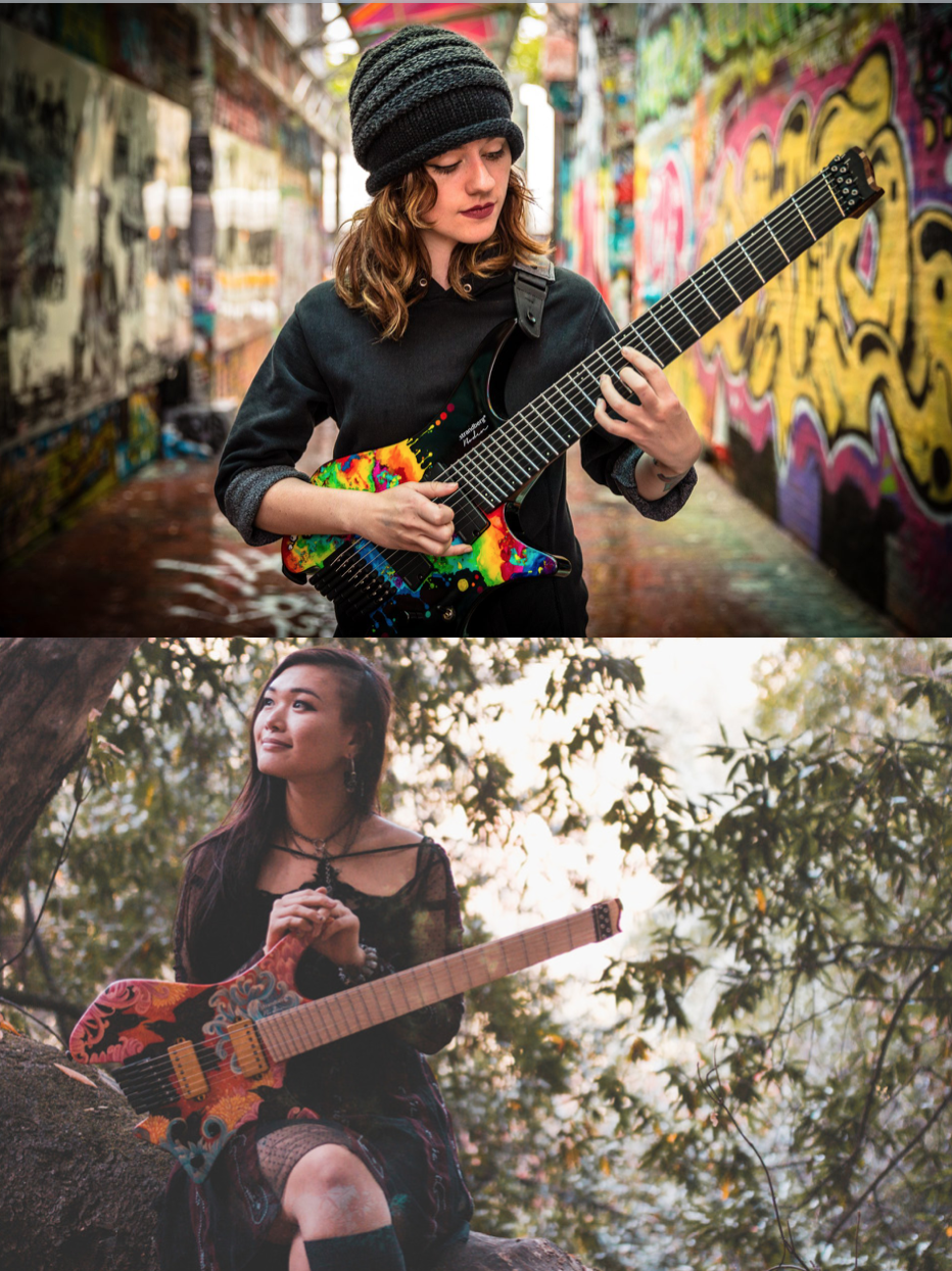 Sarah Longfield ( https://strandbergguitars.com/sarah-longfield-signature-strandberg-guitar/)  e Yvette Young (http://top-guitars.co.uk/six-string-sensations-yvette-young/)