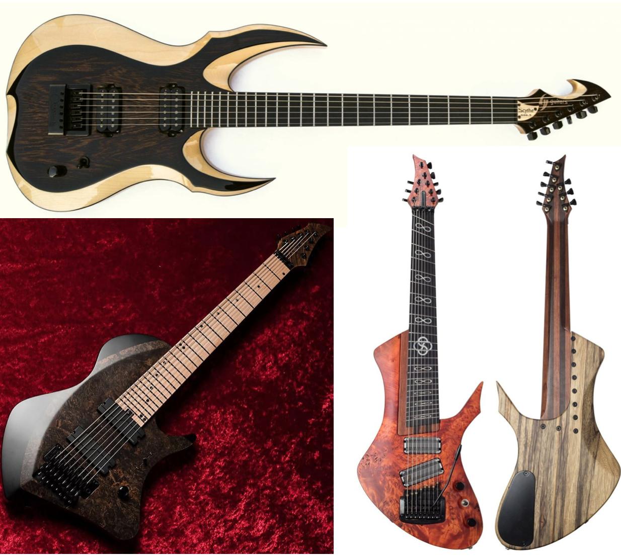 Arriba una Scythe (gv Guitars). Abajo izquierda una Larada (Abasi) y a la derecha una Claas 0316 Custom Shop (imágenes obtenidas de las páginas web oficiales)
