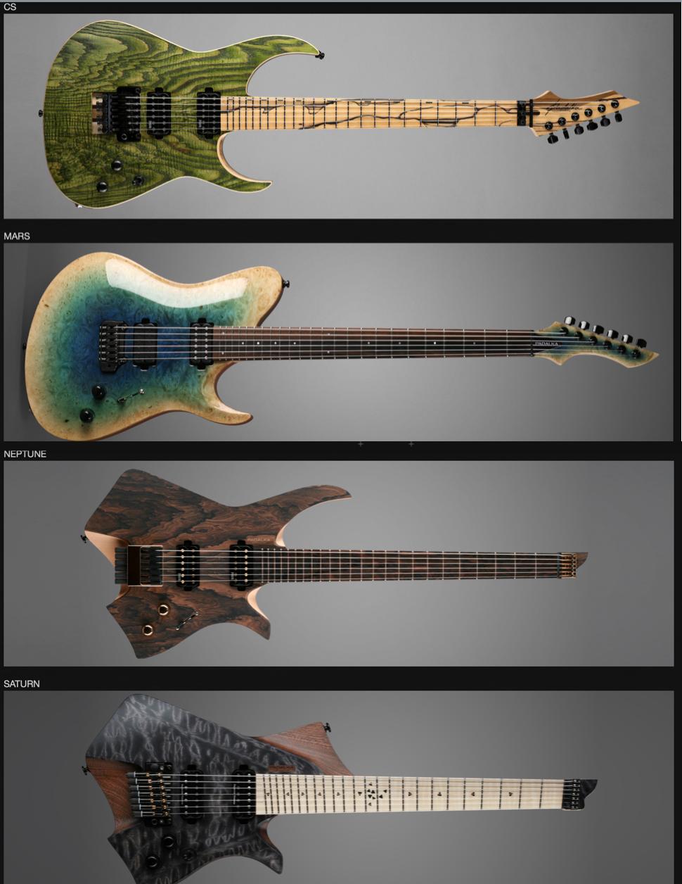 Algunos modelos Padalka (obtenido de http://padalka-guitars.com/guitars/)