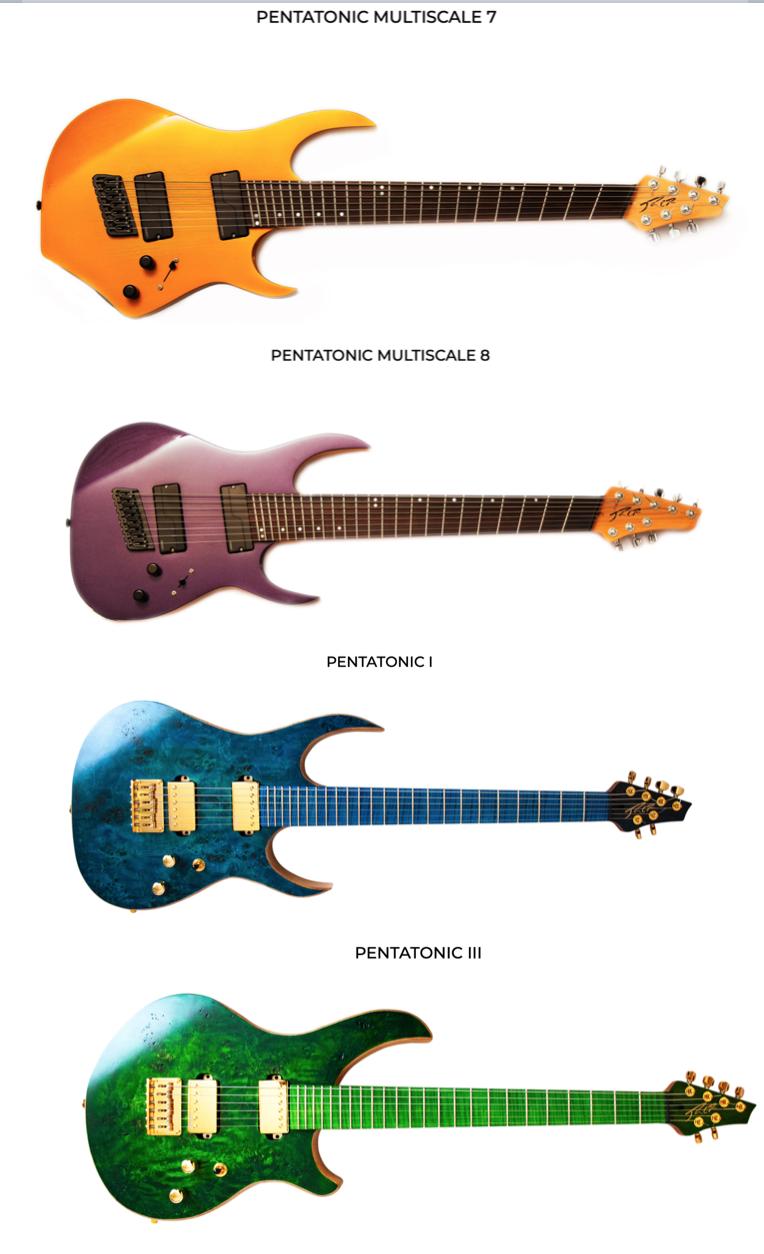 Algunos modelos de RCR (obtenido de https://www.rcrguitars.com/GUITARRAS.html)
