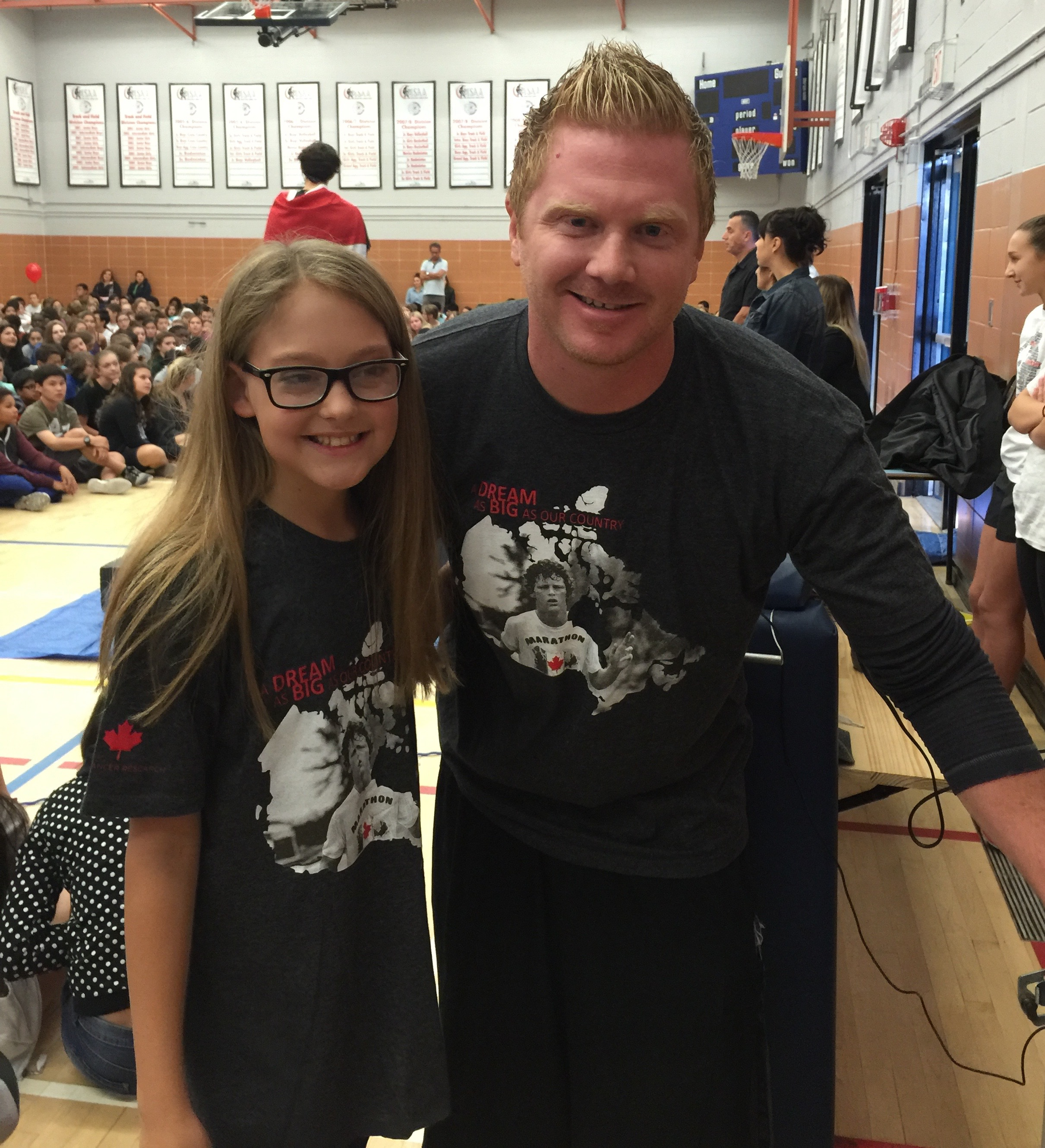Natasha and Mr Rusty at Vincent Massy Junior High, Calgary AB Terry Fox Run Day 2015