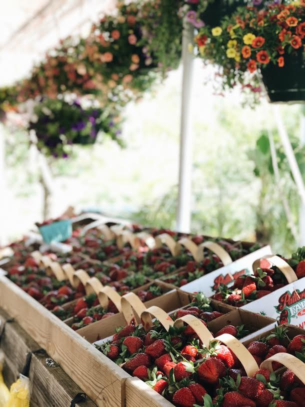 strawberries with hanging baskets
