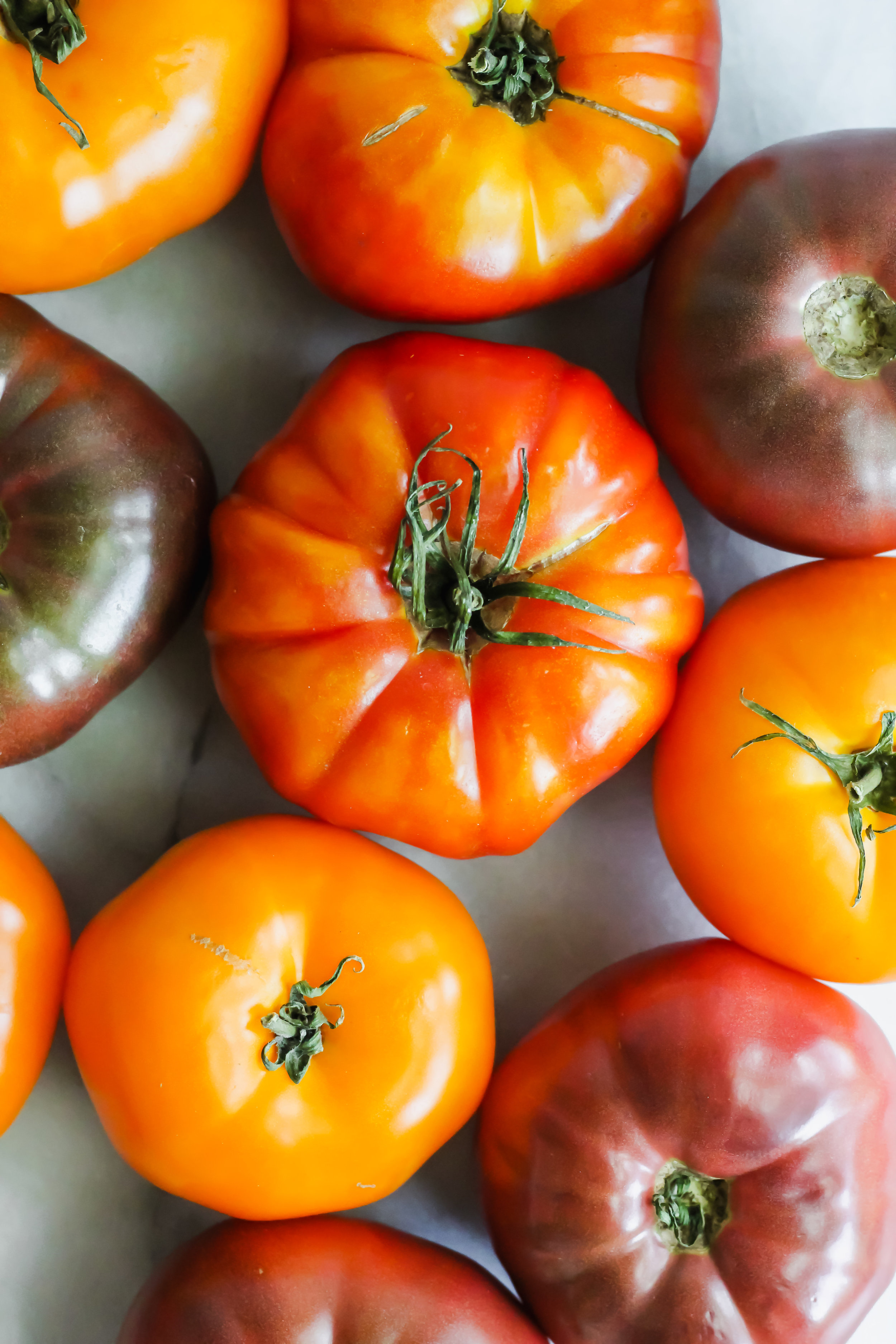 heirloom tomatoes with white background
