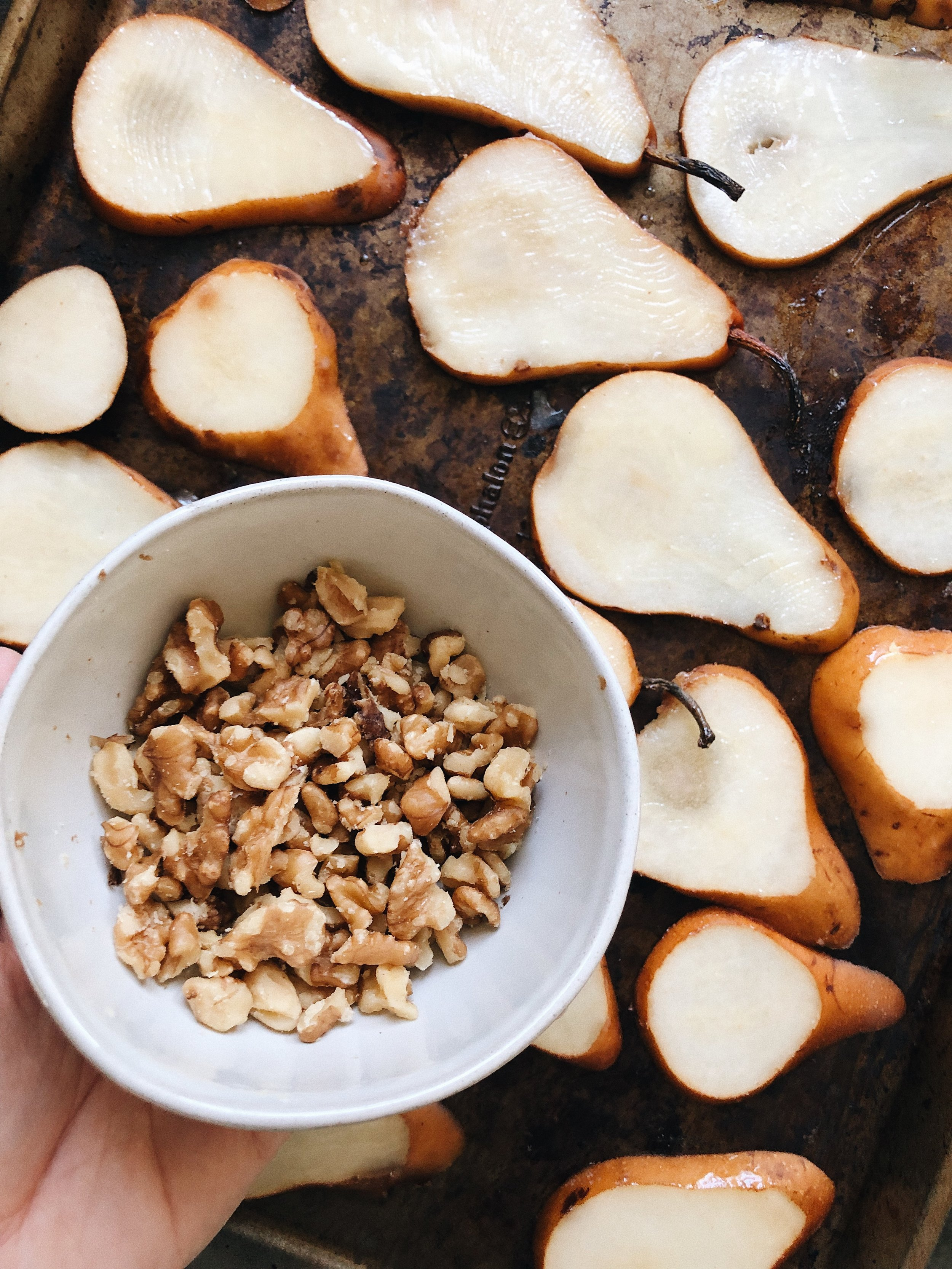 bowl of crushed walnuts