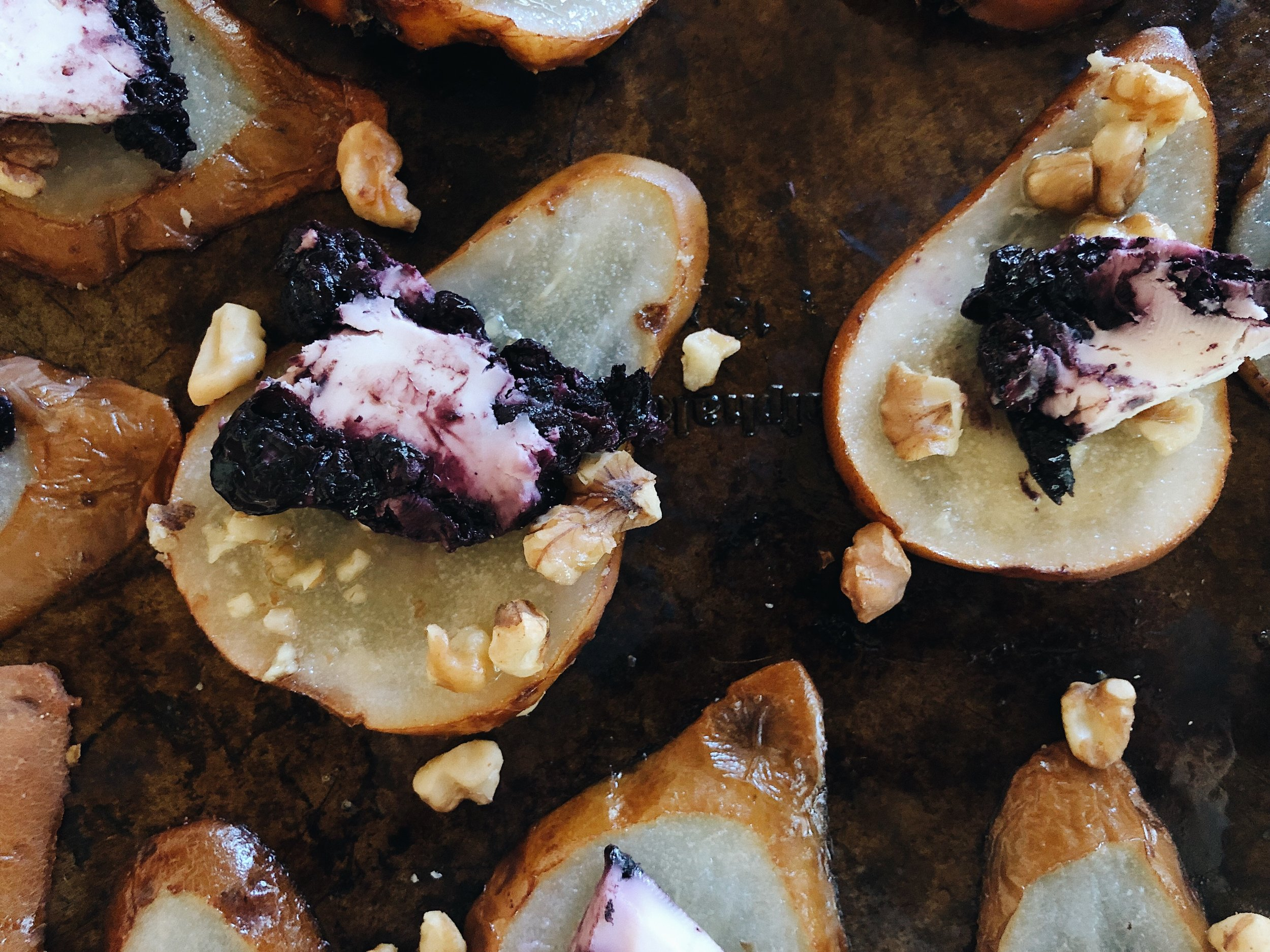 pears topped with blueberry goat cheese