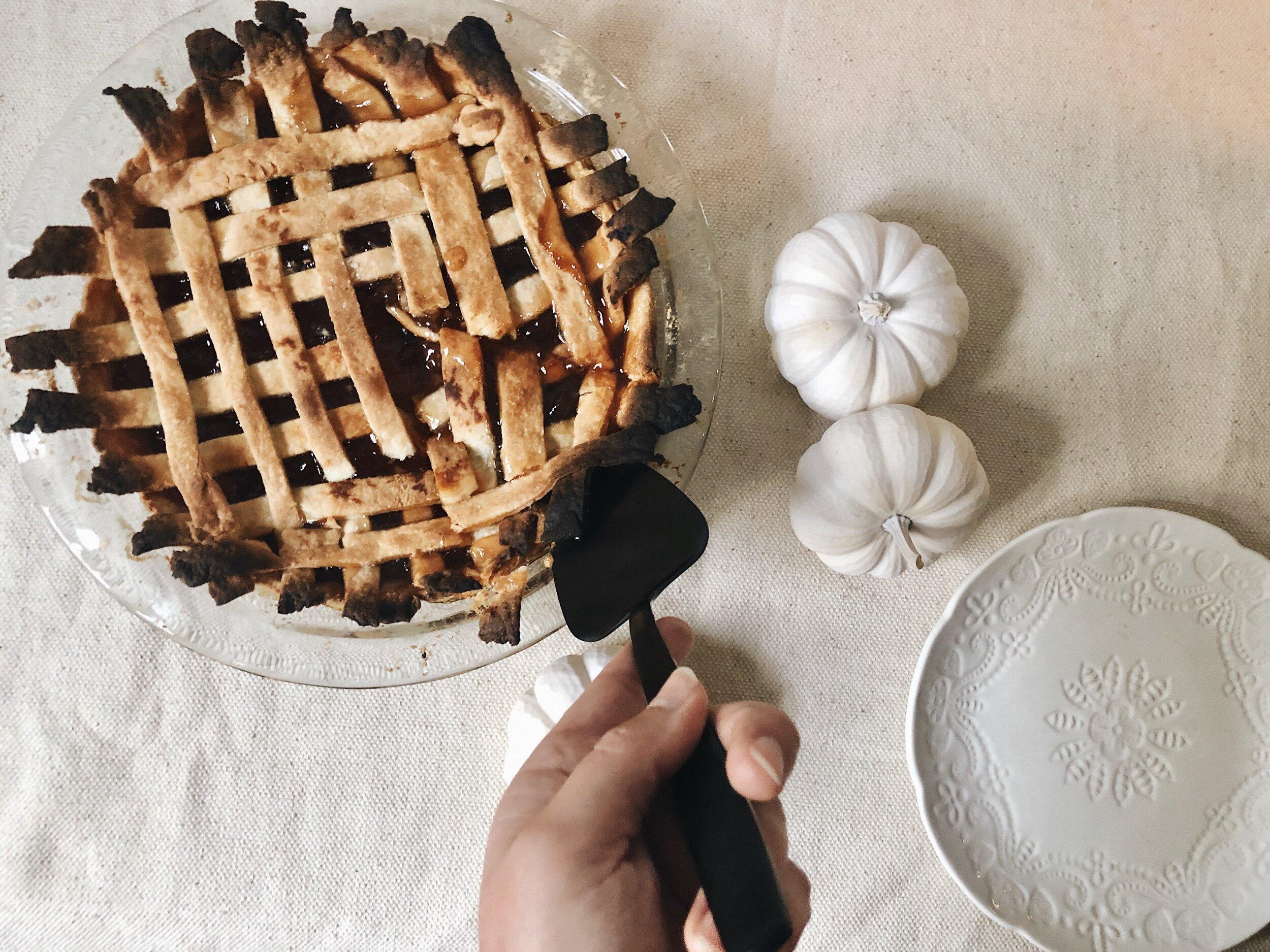 cutting a piece of pie
