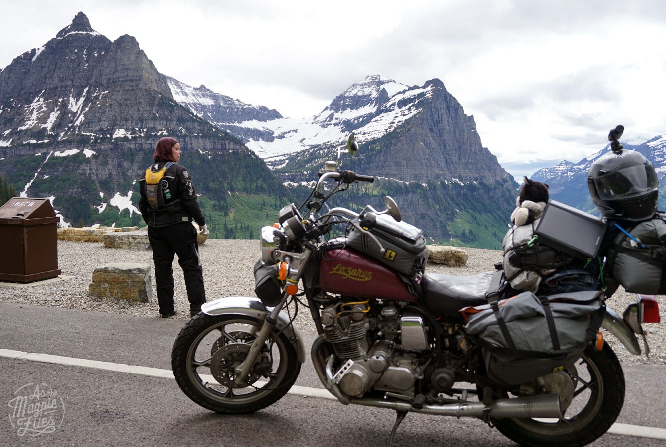 Amanda and Lazarus her 1980 Suzuki GS850gl geared up with Wolfman Luggage, in Glacier National Park, June 2016.