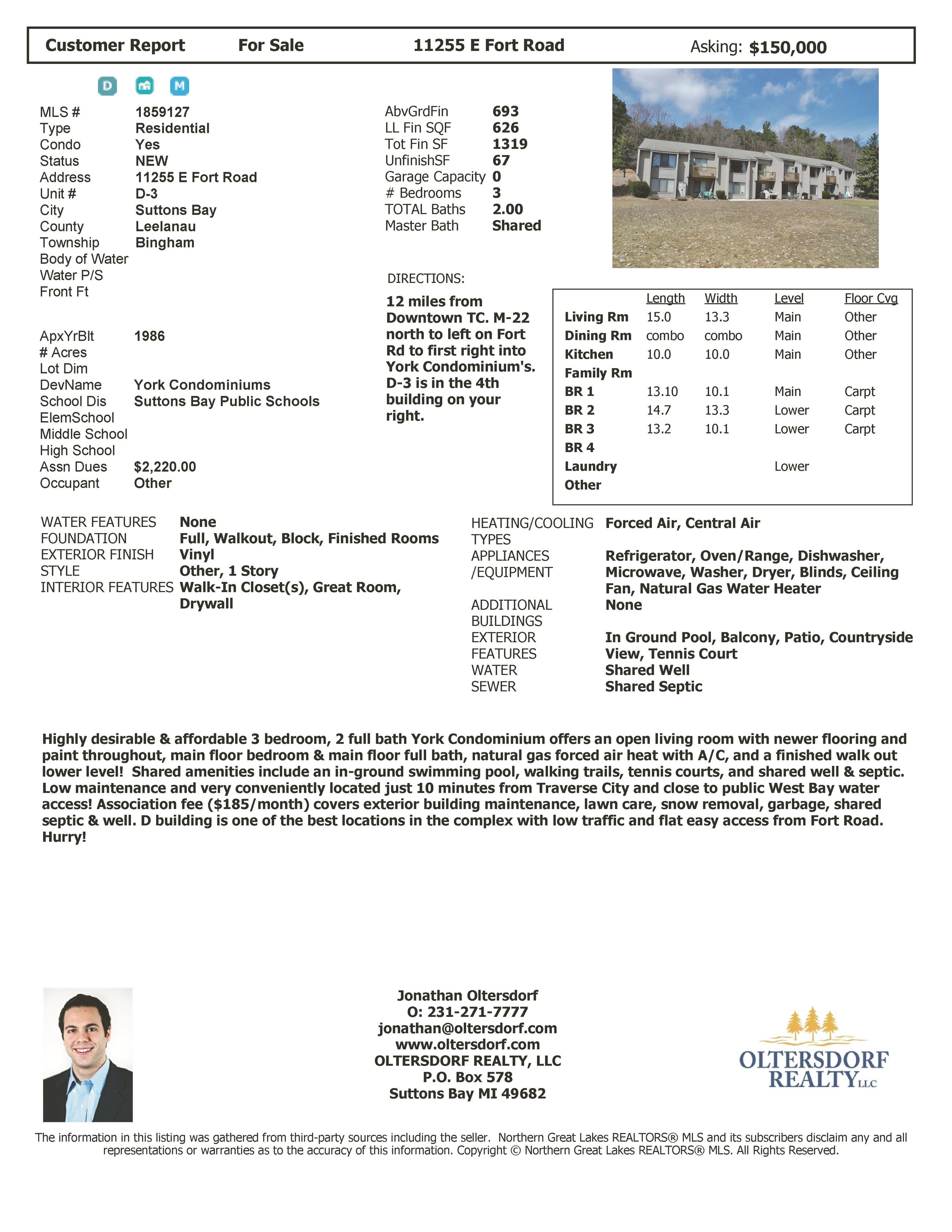 11255 E Fort Road, Unit D-3, Suttons Bay, MI – 3 Bedroom, 2 Bath York Condominium 2019.jpg