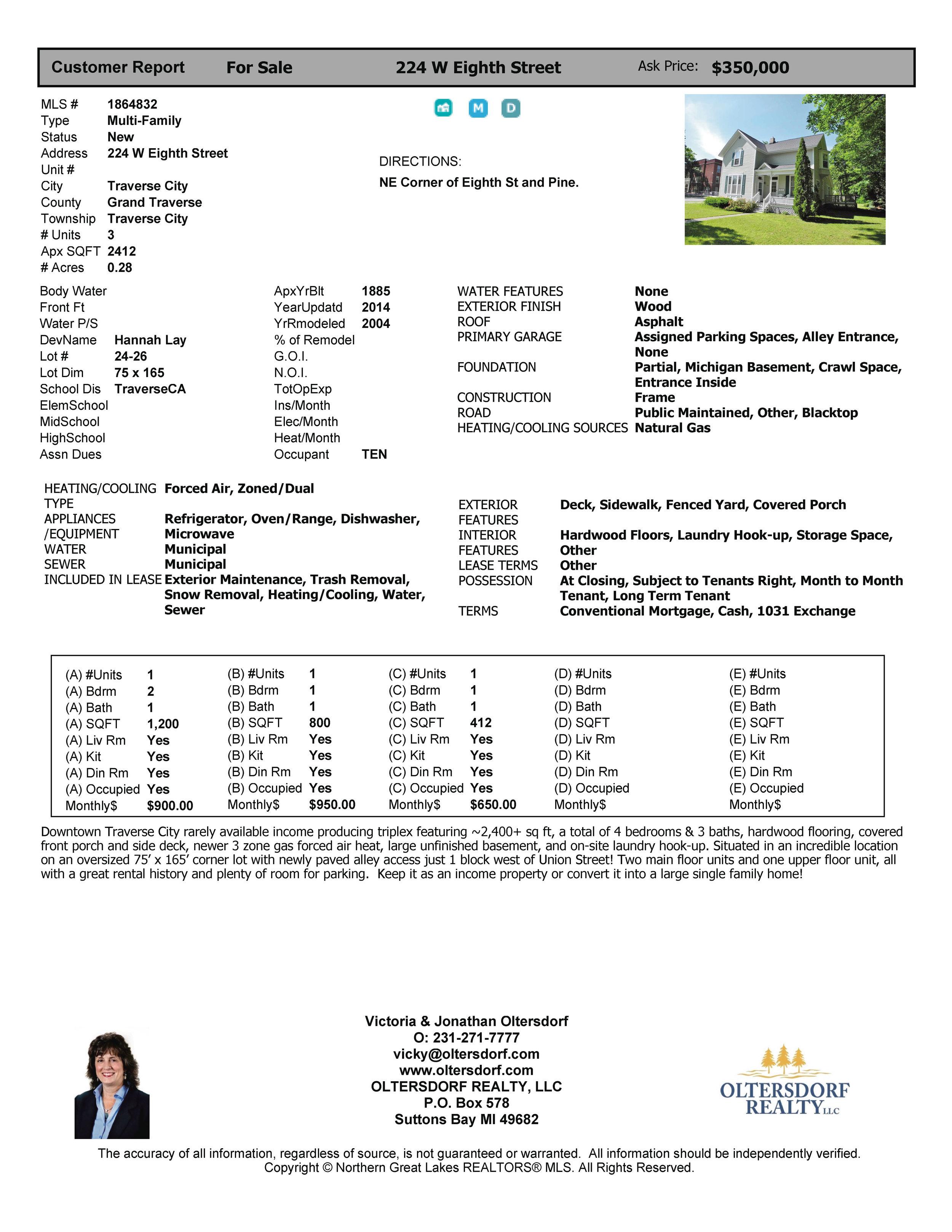 224 W Eighth St, Traverse City, MI – Downtown Traverse City Triplex Marketing Packet - For sale by Oltersdorf Realty LLC (9).jpg
