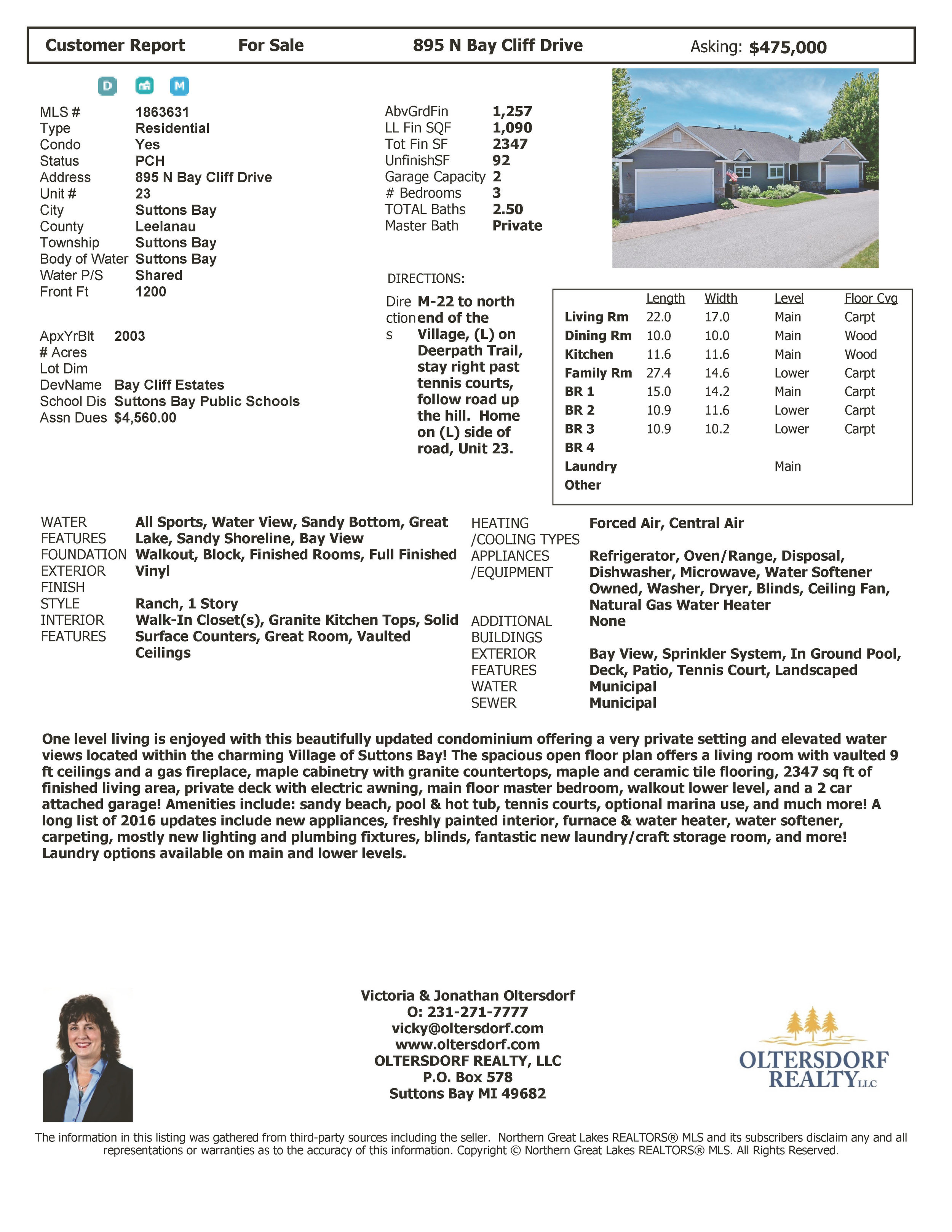 895 N Bay Cliff Drive #23, Suttons Bay - MLS Price Change.jpg