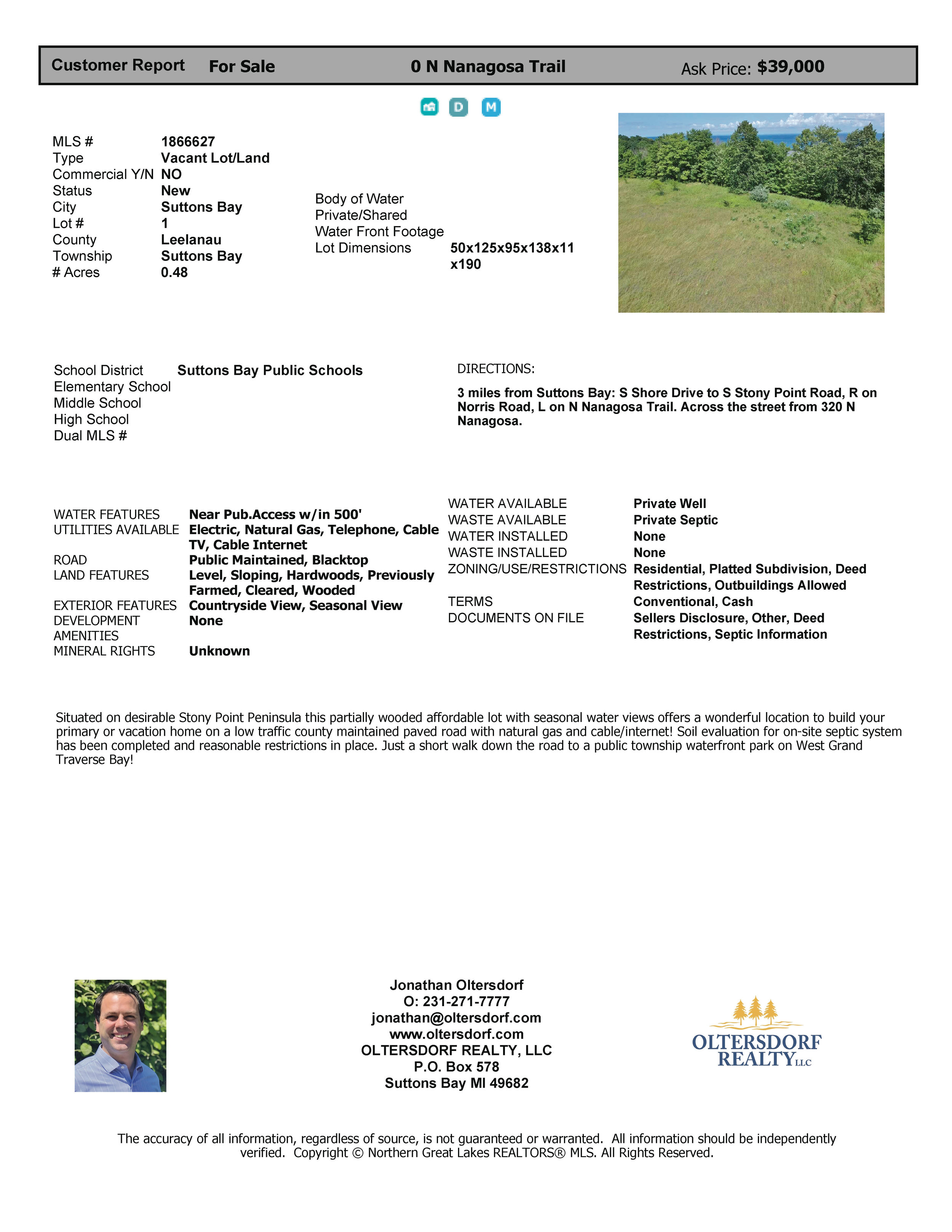 N Nanagosa Trail, Suttons Bay, MI - ~0.48 Acre Vacant Parcel on Stony Point near Water Access - Marketing Packet (1).jpg
