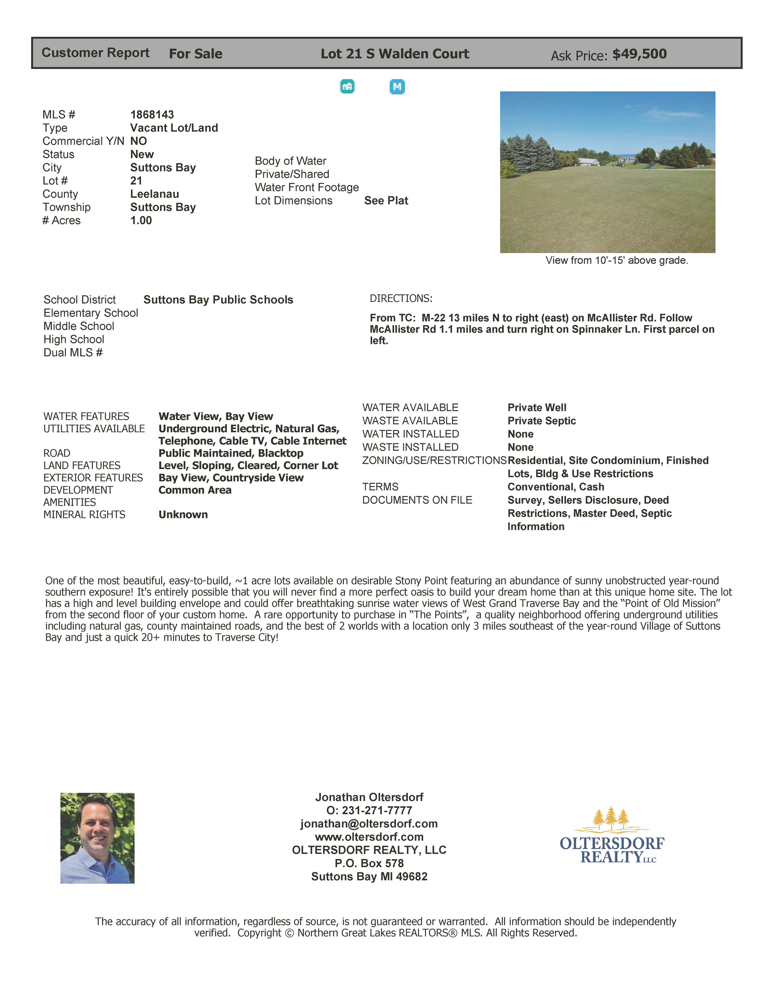 Lot 21 – S Walden Court, Suttons Bay, MI – Water View Vacant Lot Marketing Packet (4).jpg