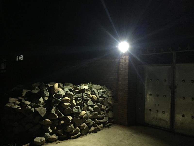 solar lamp in yard
