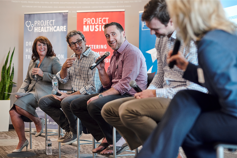Michael Brody-Waite, CEO of Nashville Entrepreneur Center, on a panel at a Project Healthcare Event. Photo by William Deshazer.