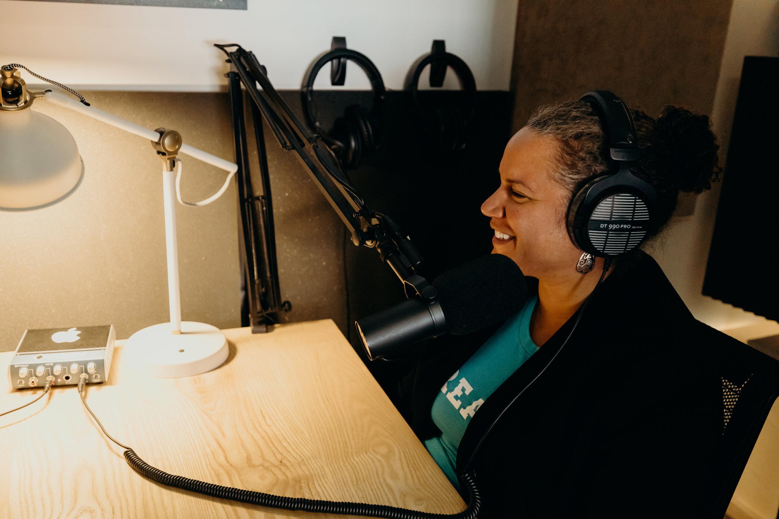 Shani Dowell in studio with Clark & Brynn