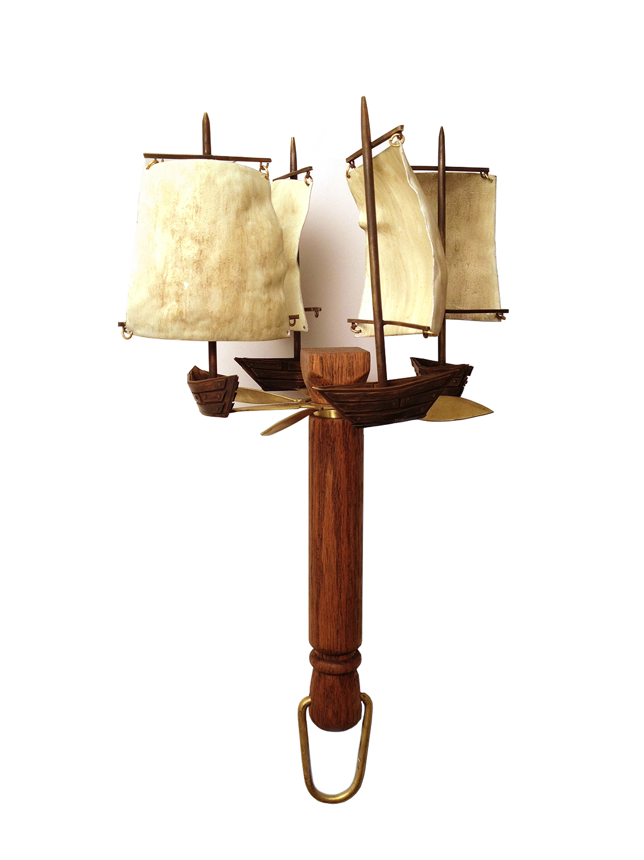 The Cloud Climber's Air Anchor  Wood, Brass, Enamel, Gouache