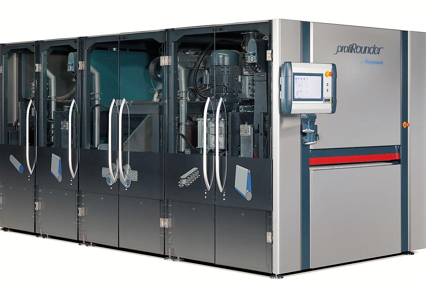 heesemann - Modulair opgebouwde plaatbewerkingsmachines voor het slijpen/schuren, afbramen, kanten breken, oxidehuid en metaalslak verwijderen, en satineren.
