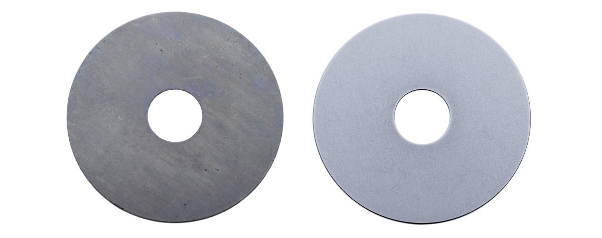 gestanste schokdempers - Dunne producten (0,1 mm) ontbramen en polijsten, zonder dat deze verbuigen.