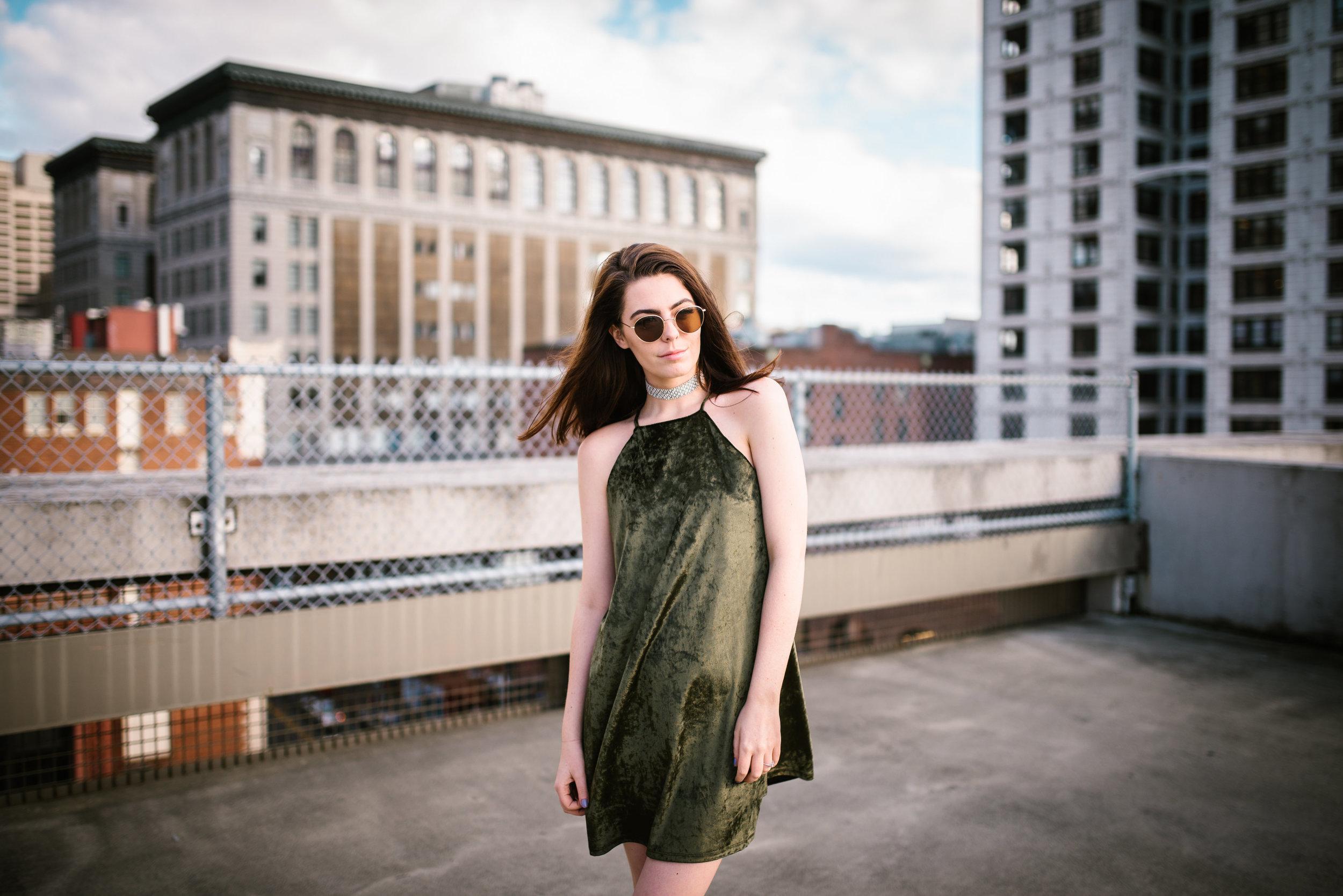 Olive-Green-Velvet-Dress-Street-Style