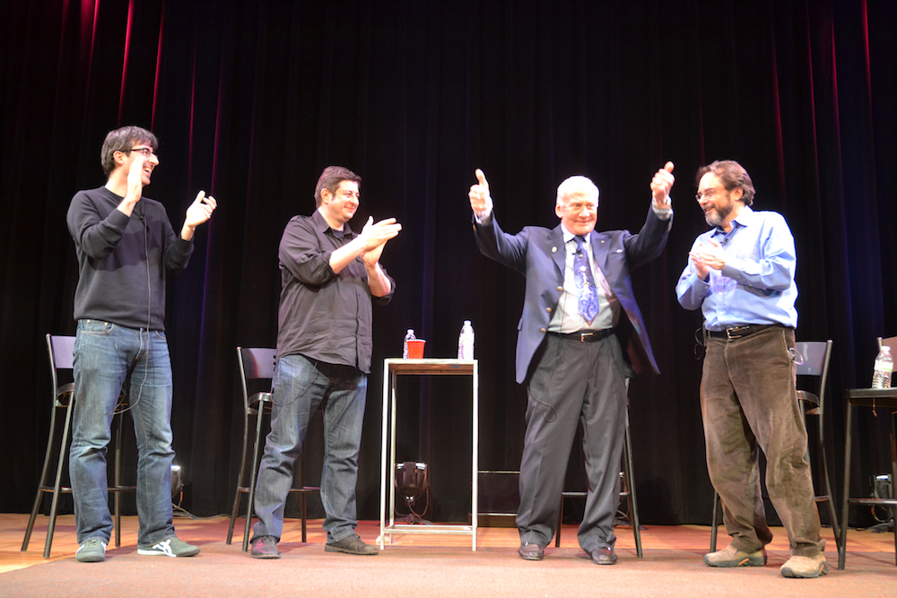 John Oliver, Eugene Mirman, Buzz Aldrin and Andrew Chaikin on stage to discuss the moon.jpg