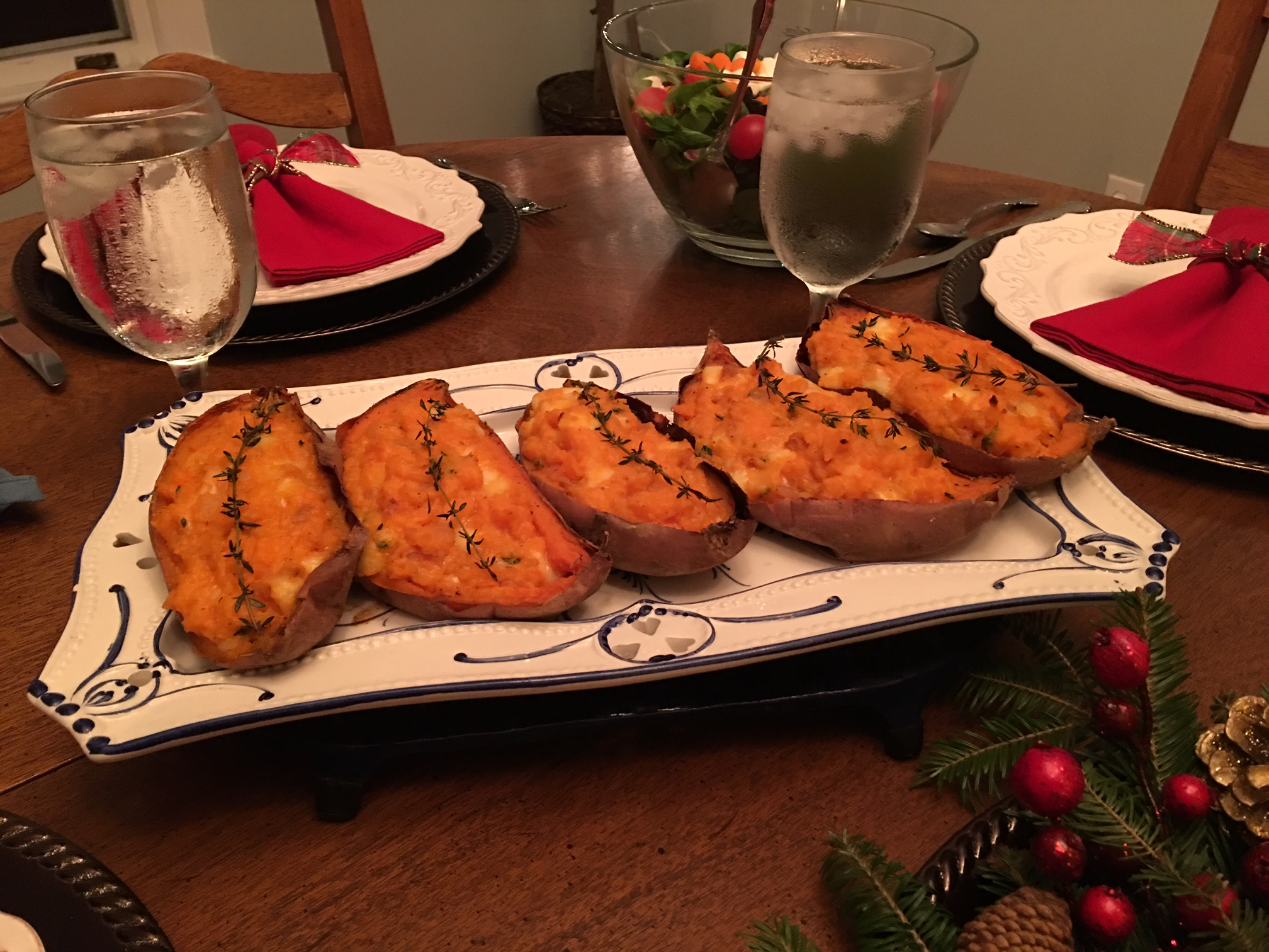 The sweet potatoes look elegant for family style dinners.