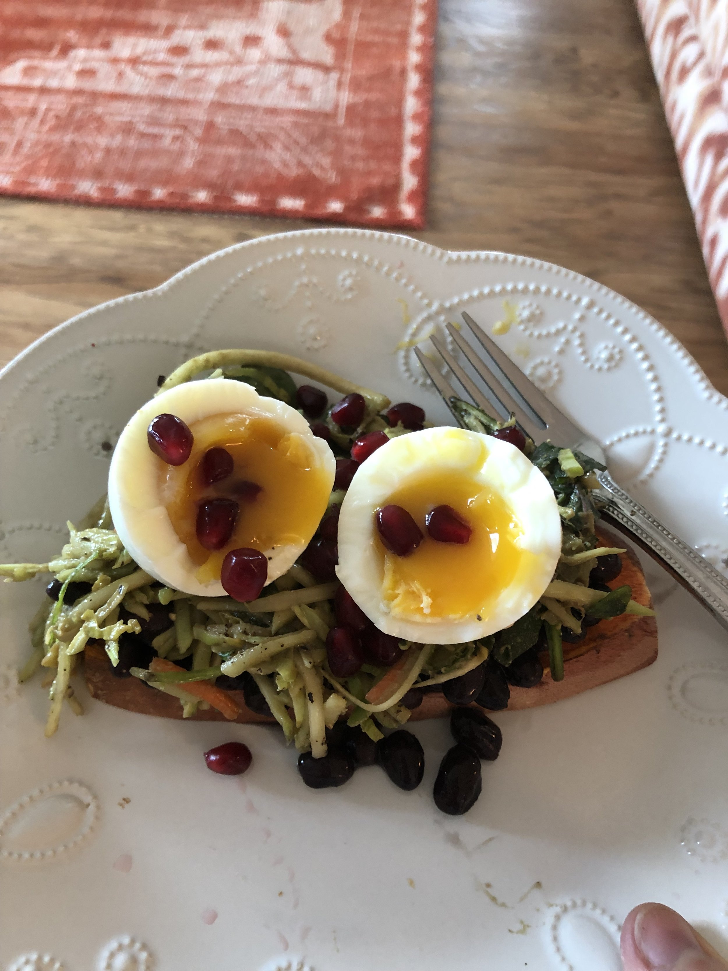 Broccoli Slaw on Sweet Potato Toast with Soft Boiled Eggs and Pomegranite Seeds.jpg
