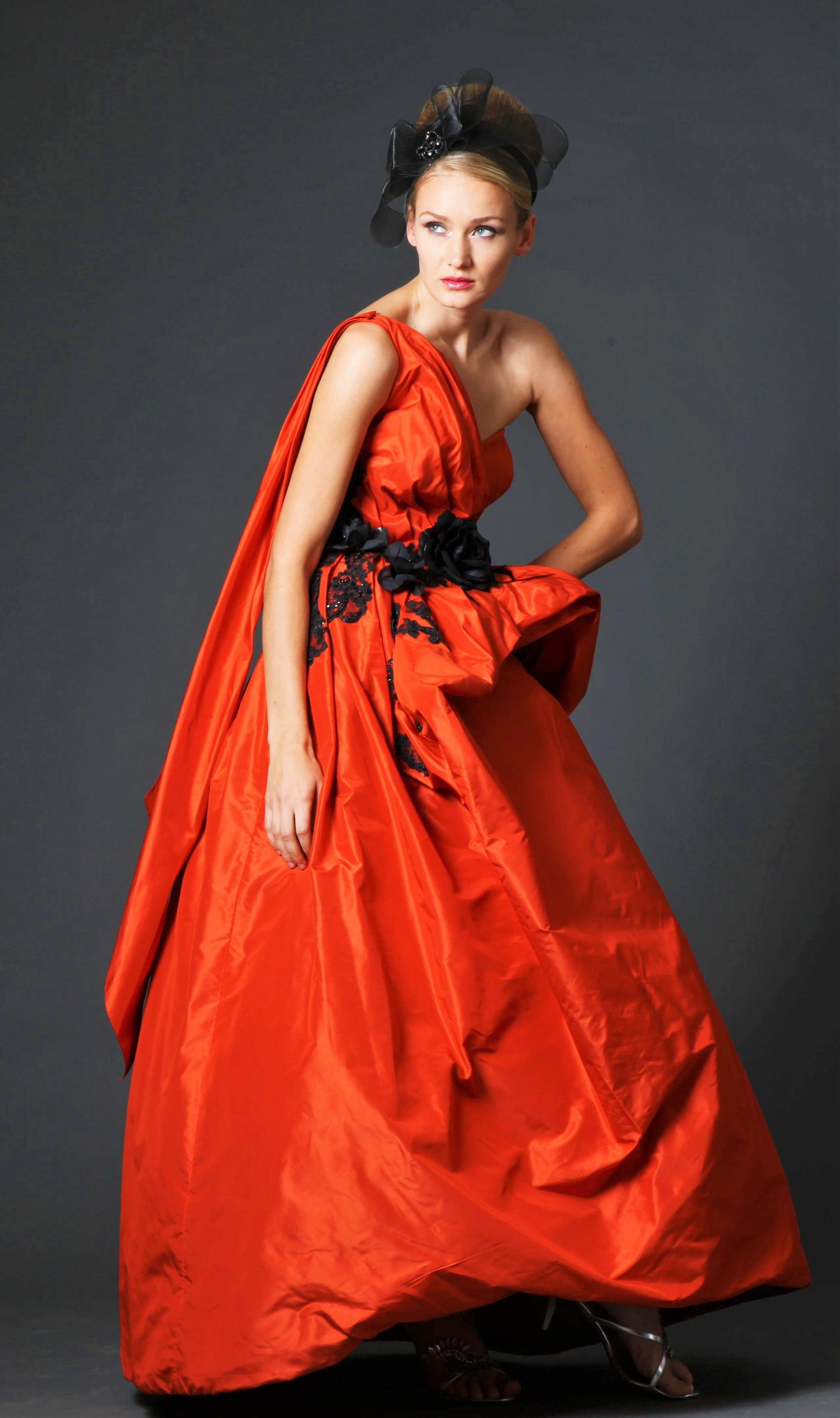 Red Draped Gown