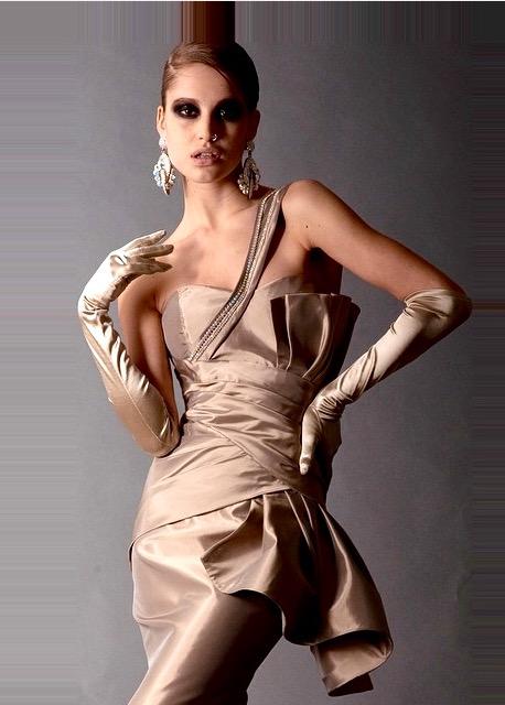 champagne sculptured/structured trumpet gown