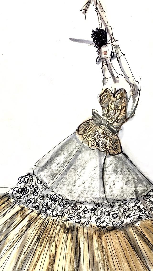 Marker, pen, graphite Pesavento Couture 1996