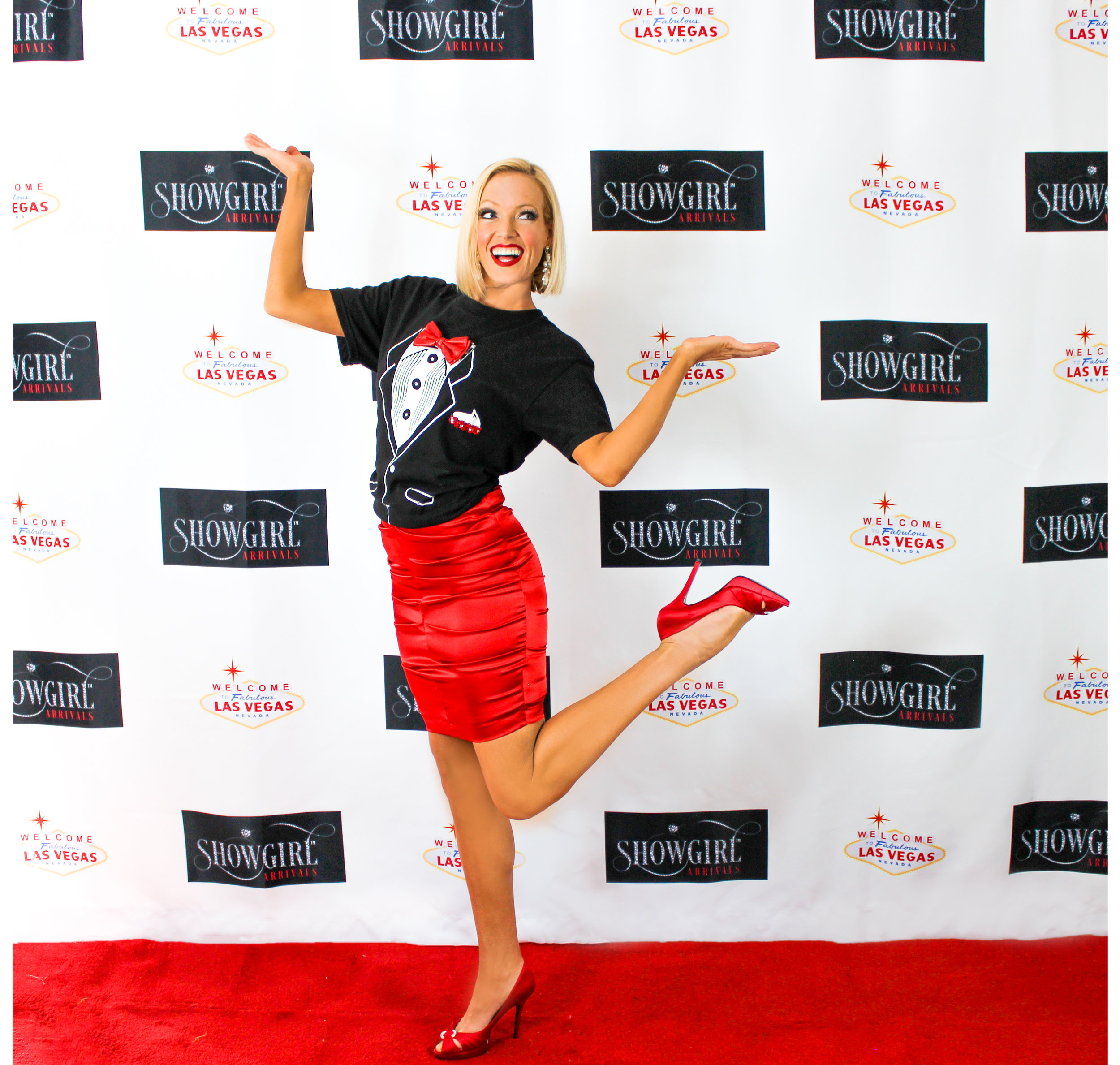 Skirt and Tie - Our Formal and Fun T-shirt and Satin Red Skirt