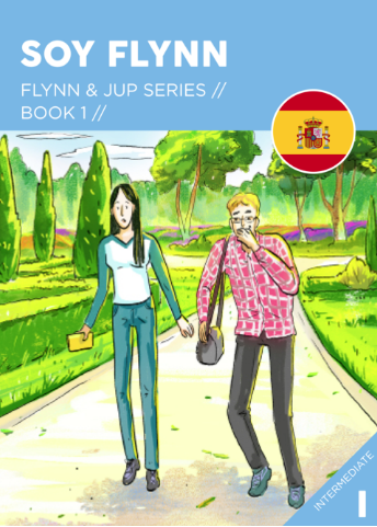 SOY FLYNN / I'M FLYNN  Flynn & Jup series. Book 1.  Get acquainted with Flynn and Jup. To kick off the series Flynn touches on the origin of her name and the difficulties of being a reporter in a town where nothing much happens (yep, this is to become a running theme). She and Jup attend a fundraising event and get a surprise - it's not as boring as they thought it would be. Quite the opposite actually.  You won't be sorry you started this series. 415 words. Intermediate level. Warning - some (very light) references to illicit substances