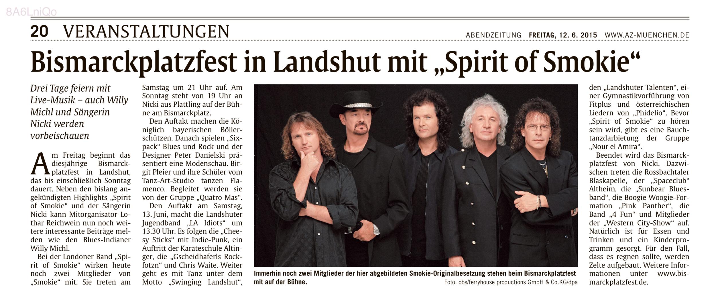 """Münchner Abendzeitung: Danielski Modenshow und """"Spirit of Smokie"""" auf dem Bismarckplatzfest in Landshut"""