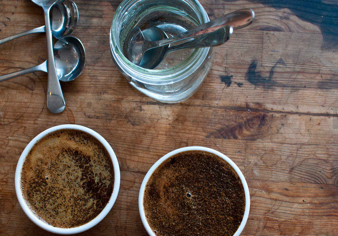 Lofted really has much nicer pictures on their site than I do. Here is some cupping that someone probably did somewhere. Gets you a little excited about coffee. Right?