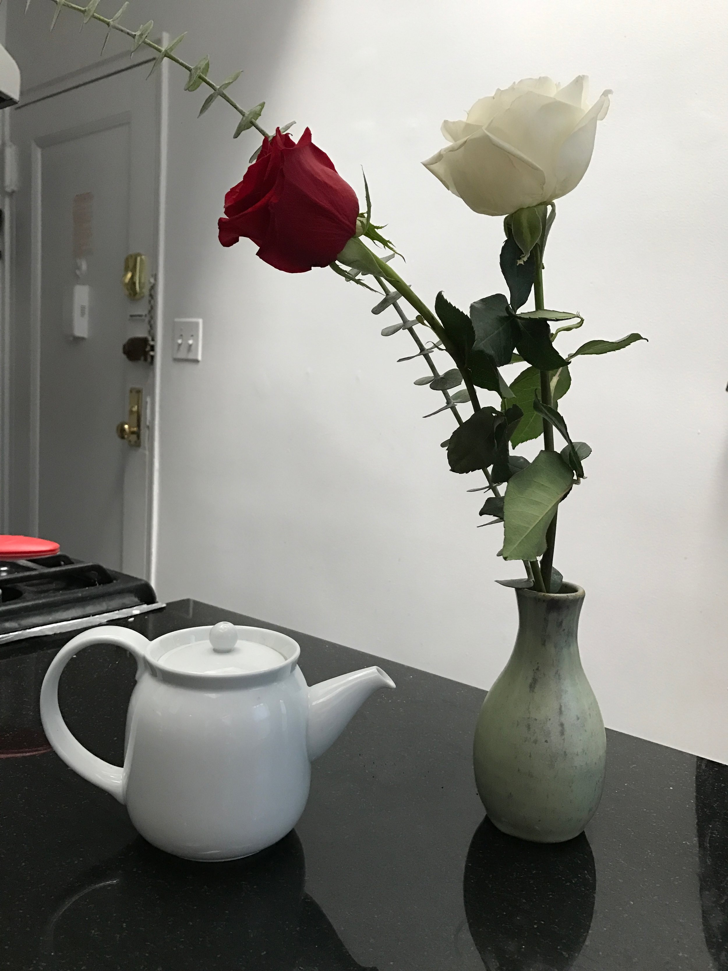 I felt like the flowers needed to be next to a tea pot. They look nice though, right? Well they had better because I'm not really feeling up to taking a new picture