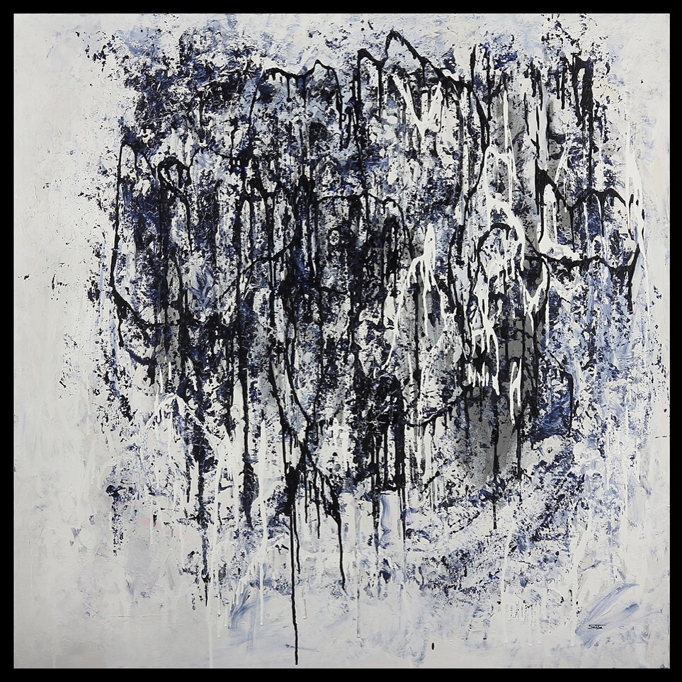 Indigo Rain 48x48 mixed media on canvas