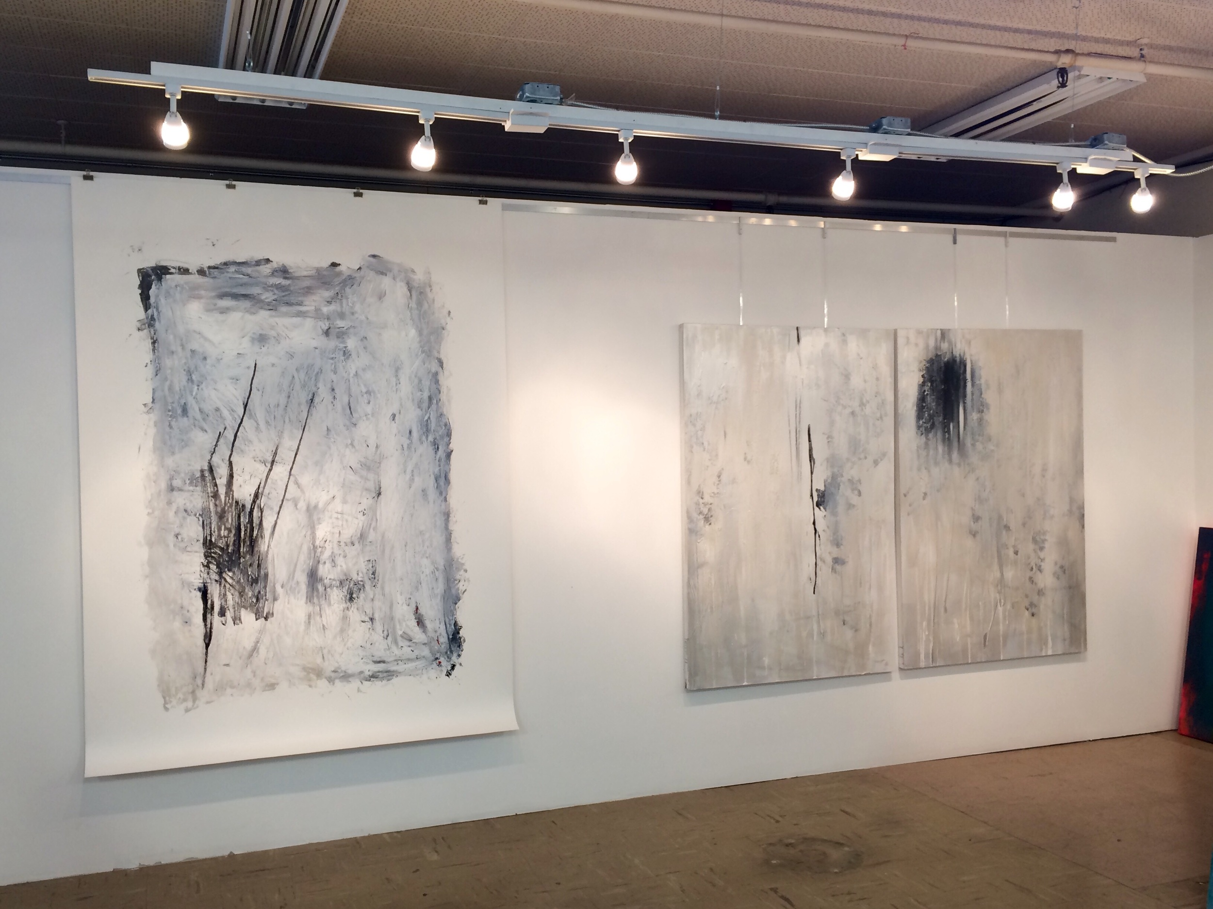 On the left  Transition Into Zen        acrylic on paper 82x60. On the right  Monochrome Diptych 3  mixed media on canvas 60x80.