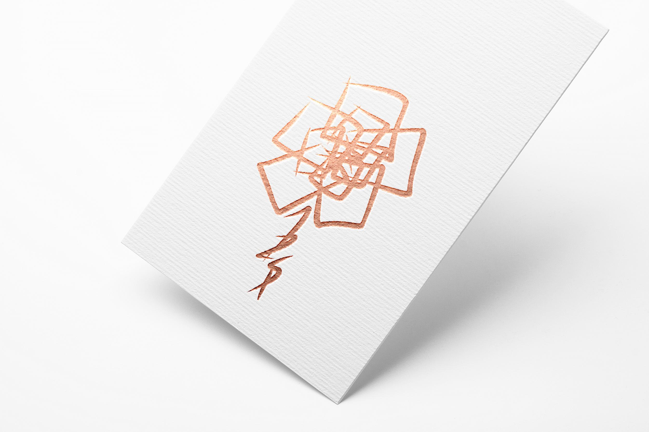 Rose logo depicted on white cardstock