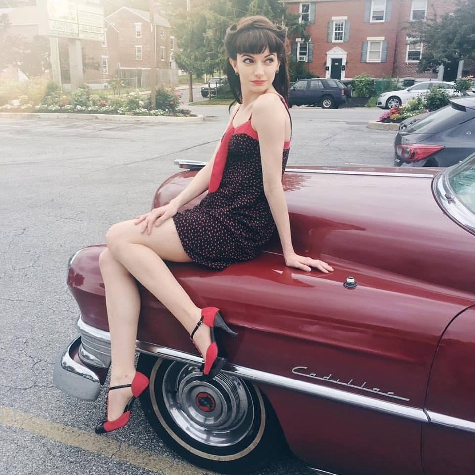 #pinupvibes with my friend Pete's Cadillac. (Pete is in the video too! He's the guy in the overalls.)