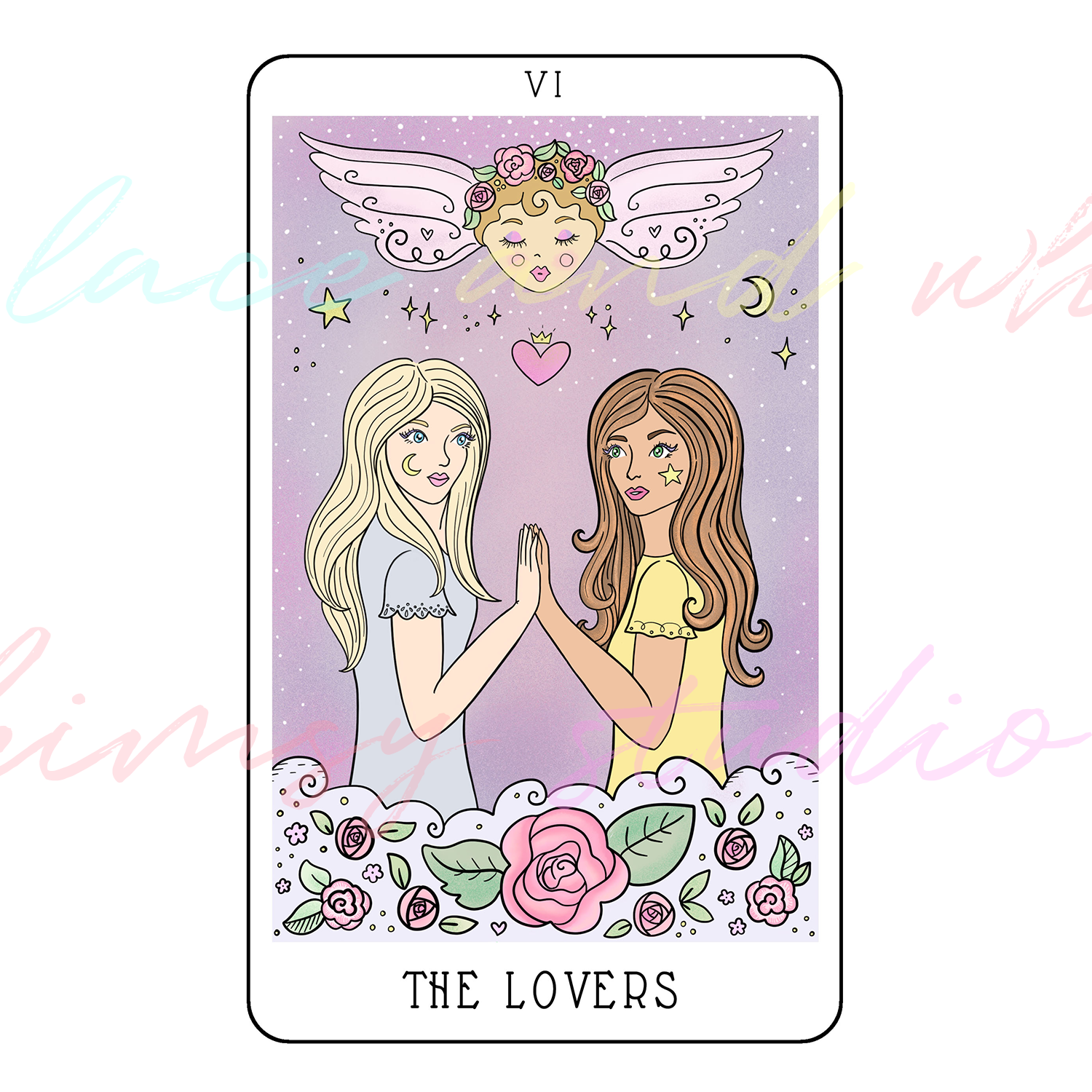 tarot-cards-illustration-series-2018-laceandwhimsy-kathy-d-clark-The-Lovers.png