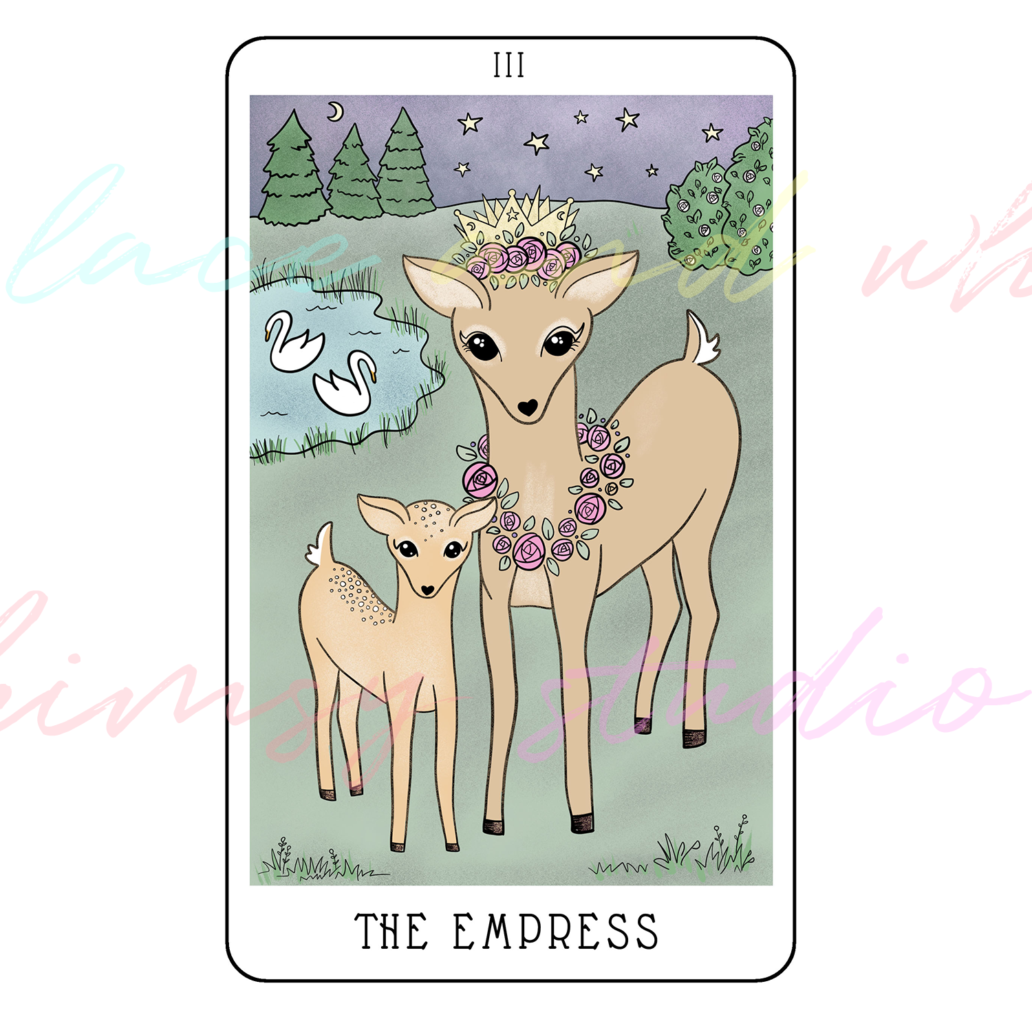 tarot-cards-illustration-series-2018-laceandwhimsy-kathy-d-clark-The-Empress.png