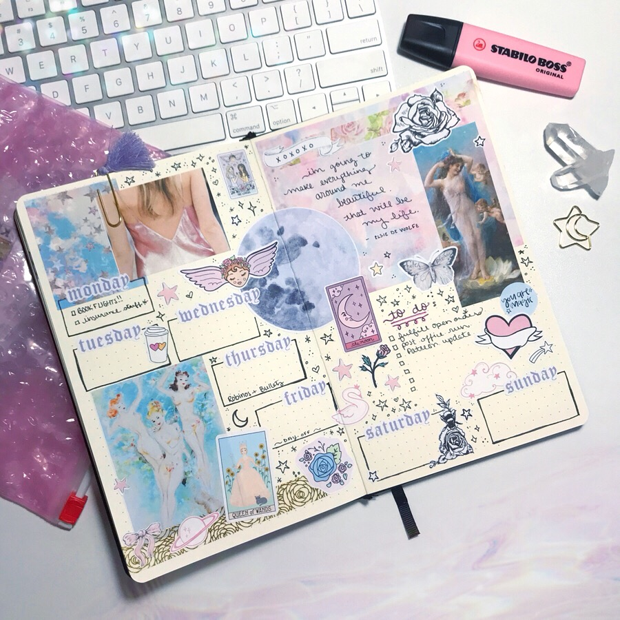 laceandwhimsy-bullet-journal-weekly-spread-collage-mood-board