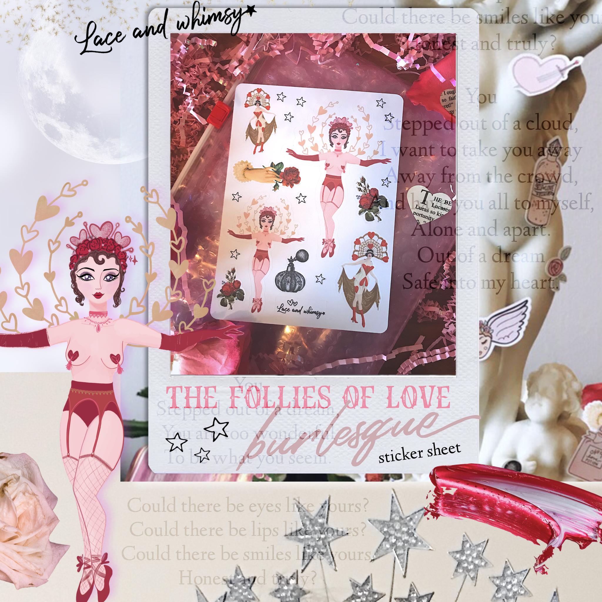 Follies of Love Burlesque Sticker Sheet