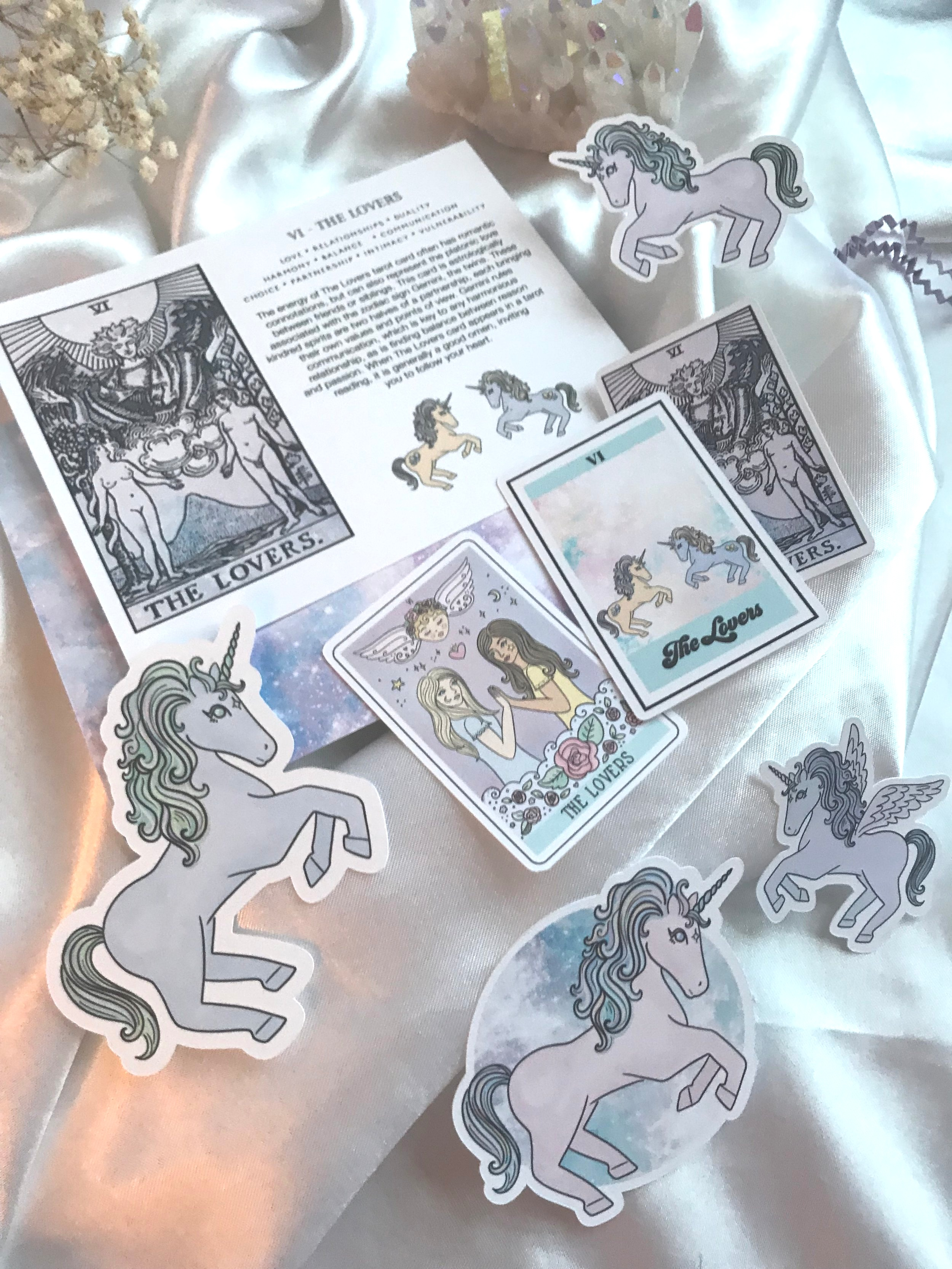 subscriber exclusive: paper ephemera pack, featuring variations on The Lovers tarot card