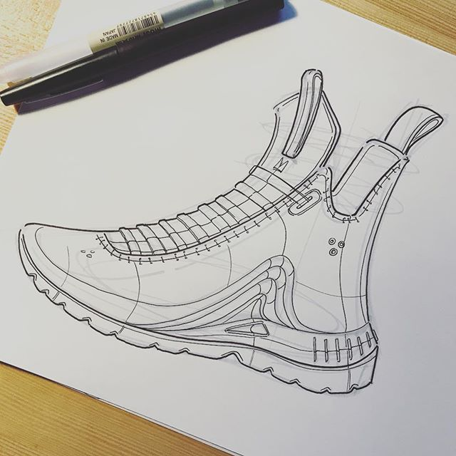 ✖️Saturday shoe doodle. It is still a challenge for me to get proportions right on a shoe. However, it is freeing to sketch something more organic than what I usually do at work. I'll probably throw some color on this later 🔺#sketching #idsketching #sketch #render #industrialdesign #productdesign #design #id #doodle #shoedesign #justdoit #shoesketch #footwear #footweardesign