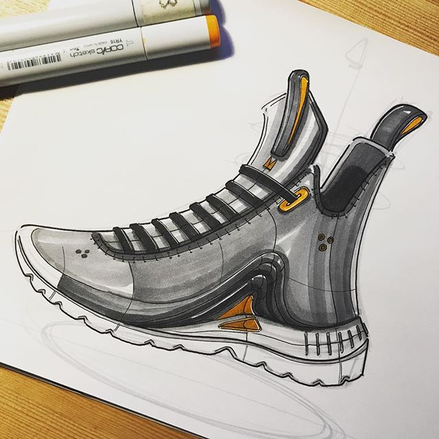 ✖️Applied some color to the previous sneaker sketch 🎨 Analog sketching definitely tests your sketching skills. As much as I love digital, there is no undo with ink to paper🔺 #sketching #idsketching #sketch #render #industrialdesign #productdesign #design #id #doodle #shoedesign #justdoit #shoesketch #footwear #footweardesign #kicks #kicksonlast #lacelessdesign #copicmarkers