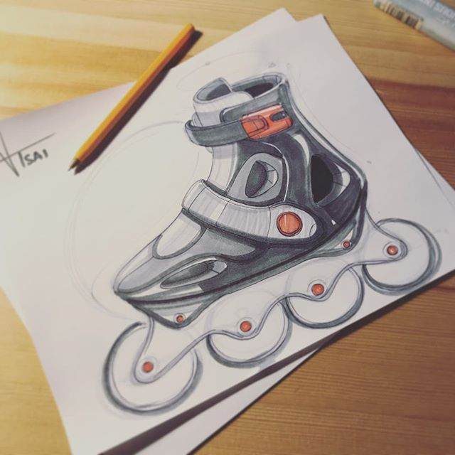 ✖️roller skates sketch✖️Timed myself. It took about 15min to sketch and then another 15min for markers. Not a fan of the wheels...looking flat haha might sketch again and think of a way to make them look cooler...😕 #sketching #idsketching #sketch #doodling #designsketch #industrialdesign #productdesign #design #id #sketchbook #ideation #weeklydesignchallenge #analogsketch #productsketch
