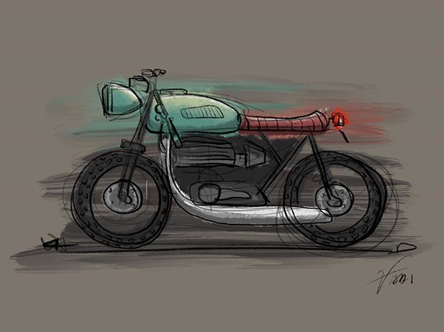 ❌ I did something on the plane 🏍 foolin around with procreate #sketch #procreate #caferacer #motorcycle #industrialdesign #digitalart