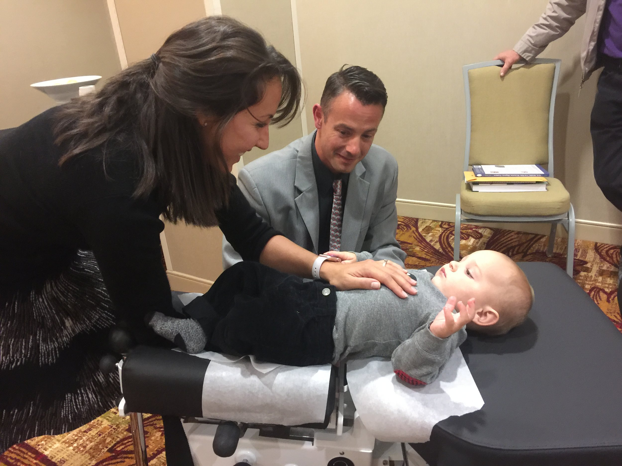Dr. Heppe performing cox® technique on a 7 month old baby.