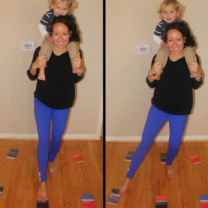 Figure 1: Dr. Heppe, 30 weeks pregnant,using her right foot to touch each book in the rectangle. When you have other kids around it is essential to work on balance so you do not topple over.