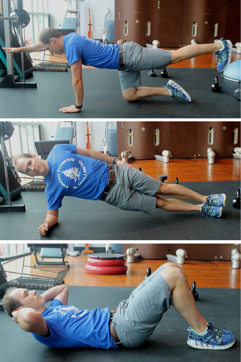 Dr. Scott Heppe demonstrating the McGill Big 3, bird-dog, side plank, and modified curl up.
